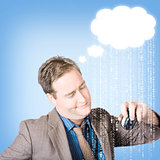 Thinking business man with cloud computer idea