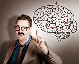 Creative man thinking up brain illustration idea