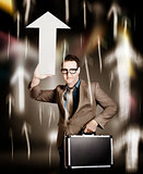 Businessman pointing up with white arrow symbol