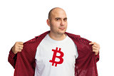 Bitcoin symbol on shirt