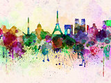Paris skyline in watercolor background