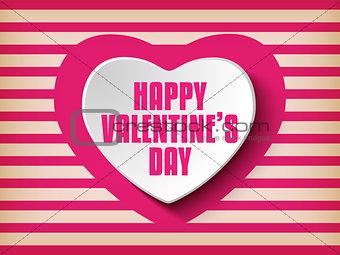 Valentine Day Heart on Retro  Background