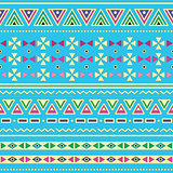 Tribal ethinc ztec seamless pattern on blue background