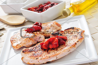 grilled chicken meat and grilled pepper