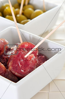 slices of fuet, spanish cured sausage typical of Catalonia, and
