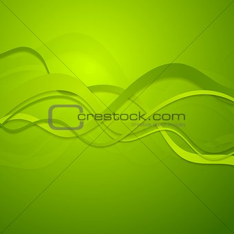 Green spring waves vector background