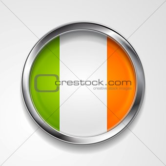 Abstract button with stylish metallic frame. Irish flag