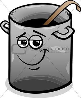 pot or pan with ladle cartoon