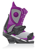boot and binding for snowboarding vector illustration
