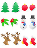 icons labels for christmas and new year vector illustration