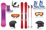 ski and snowboarding set icons equipment vector illustration