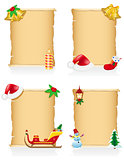 set vintage christmas blank scroll vector illustration