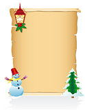 vintage christmas blank scroll vector illustration