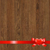 Wooden Panel With Red Ribbon