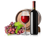 Wine with grape and barrel