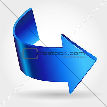 Blue arrow. Three dimensional creative vector icon