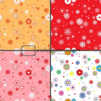 Four seamless vector patterns with daisy flowers