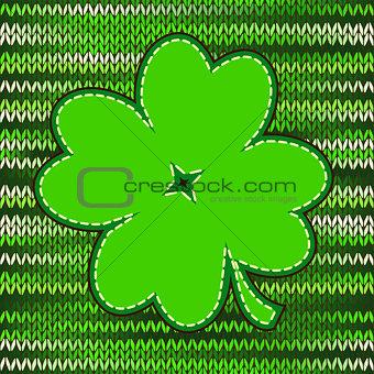 Four leaf clover light green textile label
