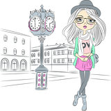 Vector hipster fashion girl near with a big clock