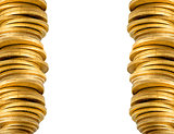 golden coins stack background