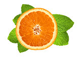 fresh orange slice and leaves of mint isolated on white