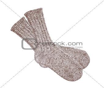 Grey wool socks isolated on white