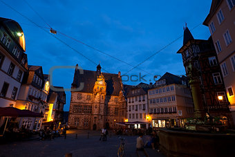 City Hall in Marburg at night