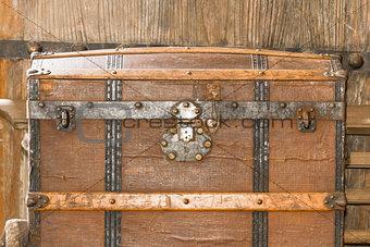 Close up old metal casket