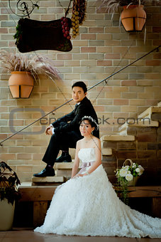 Asian wedding couple show concept of love
