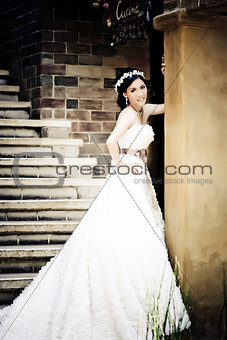 Asian woman in wedding suit show love concept