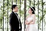 Wedding couple show concept of love