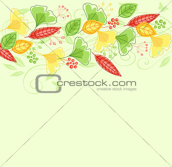 Background with green and yellow leaves