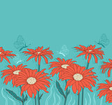 Green background with red gerbera
