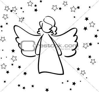 Angel and stars black and white love concept