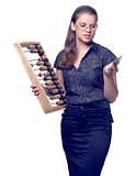 girl with wooden abacus keeps money
