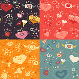 Four Valentines hearts patterns