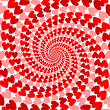 Design red striped heart helix movement background. Valentines D
