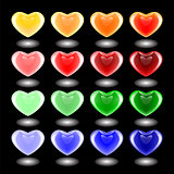 Set of design 3d multicolor heart icons. Emblems for Valentine's