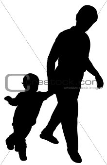 mom and baby boy walking silhouette vector