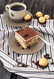 Portion of delicious tiramisu cake