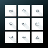 Vector flat car dashboard icon set