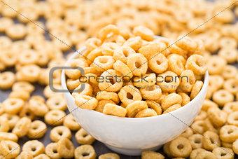 Bowl of honey corn rings