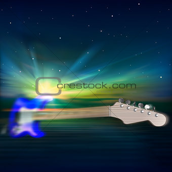 abstract music background with electric guitar and sunrise