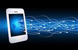 Smartphone, globe and glow rays