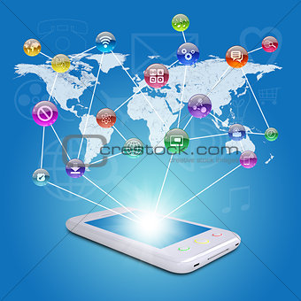 Smartphone, earth map and application icons