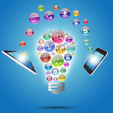 Lamp consisting of apps icons, tablet and phone