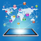 Tablet PC, earth map and application icons