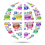Silhouette sphere consisting of apps icons