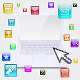 Laptop and application icons