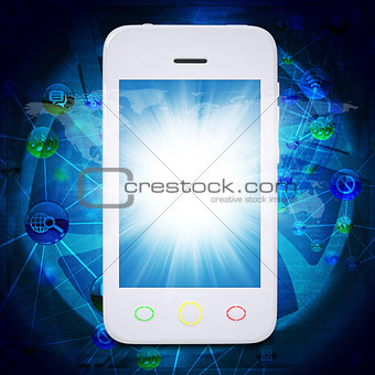 Smartphone, globe, application icons and graphics